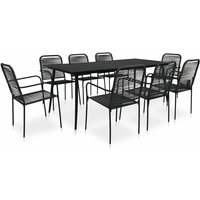 9 Piece Outdoor Dining Set Cotton Rope and Steel Black - Black