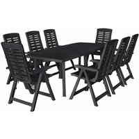 Youthup - 9 Piece Outdoor Dining Set Plastic Anthracite