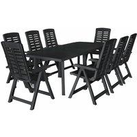 Zqyrlar - 9 Piece Outdoor Dining Set Plastic Anthracite - Grey