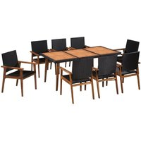 9 Piece Outdoor Dining Set Poly Rattan Black and Brown - YOUTHUP