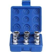 Bearsu - 9 Piece Torx Star Bit Socket Set, 1/2 Drive, E-Type Torx Star Bit Socket Set, E10-E24 Repair Tool Kit