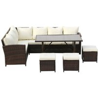 9-Seater Rattan Furniture Outdoor Sofa Dining Table With Free Rain Cover Black Silk Screen Glass Beige Sofa Cover (UK Flame Retardant Material) Brown