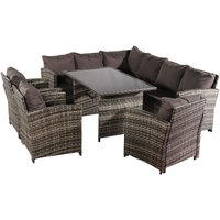 9 Seater Rattan Sofa Set, Corner Sofa and Tempered Glass Coffee Table and 3 pcs Armchair Conversation Set for Outdoor Garden Patio Yard Furniture (Grey)