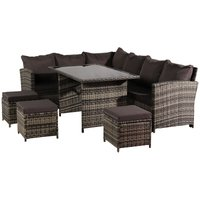 9 Seater Rattan Sofa Set, Corner Sofa and Tempered Glass Coffee Table and 3 pcs Ottoman Conversation Set for Outdoor Garden Patio Yard Furniture (Grey)