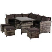 9 Seaters Rattan Furniture Set Oytdoor Garden Sofa with Coffee Tea Table