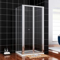 900 x 1000 mm Bifold Glass Shower Enclosure Reversible Folding Shower Cubicle Door with Side Panel + Stone Tray - ELEGANT