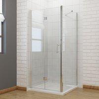 900 x 700 mm Bifold Shower Enclosure Glass Shower Door Reversible Folding Cubicle Door + Side Panel - ELEGANT