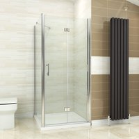 900 x 800 mm Bifold Shower Enclosure Glass Shower Door Reversible Folding Cubicle Door + Side Panel - ELEGANT