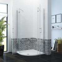 900 x 900mm Quadrant Shower Enclosure Pivot Hinge 6mm Glass Shower Cubicle Door with Stone Shower Tray + Waste