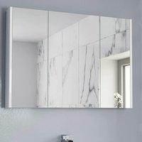 900mm Bathroom Mirror Cabinet Three Door Cupboard Wall Hung White
