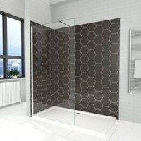 900mm Wet Room Shower Screen Panel 6mm Tempered Safety Glass Featured, Walk in Shower Enclosure with 1400x900mm Tray