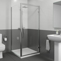 900x900mm Framed Hinged 8mm Shower Enclosure Door Side Panel Walk-In Tray Waste