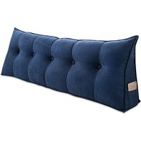 90x50x20cm Bedside Triangle Cushion Sofa Cushion Bed Backrest Support Reading Pillow Office Lumbar Pad(blue)