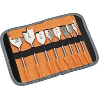 9529S8 Flat Wood Drill Bit Set 8 Piece In Roll Case - Bahco