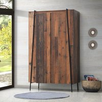 Abbey 2 Door Double Wardrobe Bedroom Furniture Rustic Industrial Oak Effect - TIMBER ART DESIGN UK