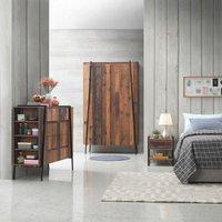 Abbey 3 Piece Bedroom Furniture Set 2 Door Wardrobe Bedside 4 Drawer Chest