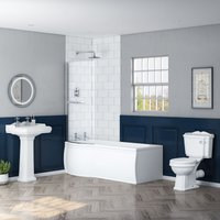 Abbey Traditional Bathroom Suite with Left Hand P Shape Shower Bath