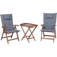 Garden Acacia Dark Wood Bistro Set Foldable Chair Table Blue Cushions Toscana