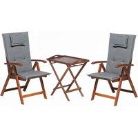 Acacia Wood Bistro Set with Cushion Grey TOSCANA - BELIANI