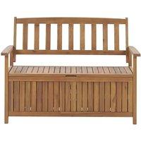 Rustic Outdoor Patio Storage Bench Solid Acacia Wood 120 cm Sovana