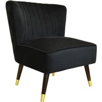ACCENT - Velvet Low Statement Occasional Chair with Wood Legs - Black - WATSONS
