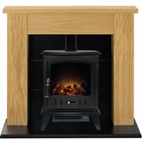 Adam Chester Oak Surround Electric Fireplace Suite Stove Fire Heater Heating