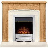 Adam Chilton Oak Electric Fire Fireplace Surround Wood Heater Real Flame Chrome