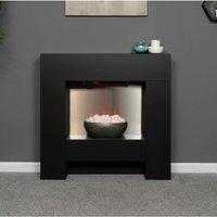 Adam Cubist Modern Black Surround Fireplace Stove Fire Heater Heating Suite