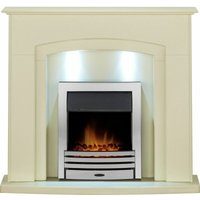 Adam Falmouth Surround Fireplace Stove Fire Heater Heating Suite Flame Chrome - ADAM FIRES