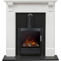 Harrogate Surround in Pure White with Keston Electric Stove, 39 Inch - Adam