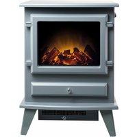 Adam Hudson Freestanding Stove Fire Heater Heating Real Log Flame Effect Grey - ADAM FIRES
