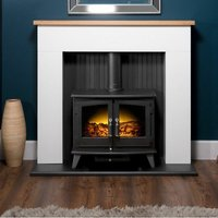 Adam Innsbruck White Surround Stove Fire Heater Heating Real Log Effect Suite