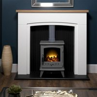 Adam Siena White Surround Electric Fireplace Suite Stove Fire Heater Heating Log - ADAM FIRES