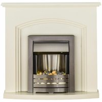 Adam Truro Cream Electric Fire Fireplace Inset Surround Wood Heater Flame Effect - ADAM FIRES