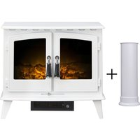 Woodhouse Electric Stove in Pure White with Straight Stove Pipe in Pure White - Adam