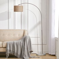 Adjustable Arched Floor Lamp with Marble Base Cloth Lampshade 131-186cm,Golden