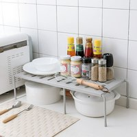 Adjustable Kitchen Under Sink Tidy Shelf Bin Pantry Rack Food Storage Organizer (Gray, Single Layer)