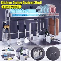 Adjustable Mobile Kitchen Shelf Dish Drainer 304 Stainless Steel Support Sink Drain Rack Cutlery Drying Drainer Brackets Black / Silver (01 Black