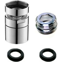 Zqyrlar - Aerator Tap, 360 Degree Swivel Water Saving Water Filter Fits M22 External Thread and M24 Female Thread For Kitchen and Bathroom ?Silver?