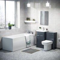 Neshome - Afern 500mm Basin Vanity Unit, WC Unit, D-Shape Toilet and Bath Suite Anthracite