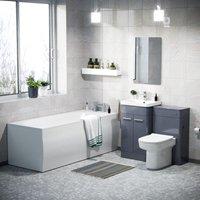 Neshome - Afern 500mm Basin Vanity Unit, WC Unit, D-Shape Toilet and Bath Suite Steel Grey