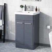 Afern 500mm Vanity Unit Cabinet and Wash Basin Steel Grey