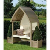 Cottage Arbour Wooden Garden Seat Chair Bench Nutmeg and Cream FSC - AFK