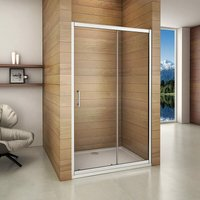 1600x1850mm Sliding Shower Enclosure Door Walk In 6mmm Glass Screen Cubicle with 900x1600mm Stone Shower Tray - AICA SANITAIRE