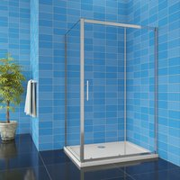 1850H Sliding Shower Door Enclosure 1000mm + 760mm Side Panel + 1000x760mm Tray Waste - Aica