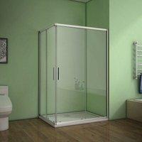 70x70x185cm Corner Entry Shower Enclosure sliding shower cubicle Eletro off white - Aica
