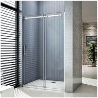 1100x1950mm,Luxury 1950 Frameless Sliding Shower Enclosure Door,1100x800x30mm shower tray - Aica