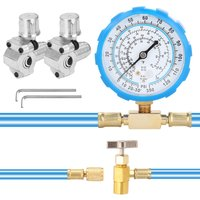 Asupermall - Air Conditioning Refrigerant Charge Hose with Gauge and BPV31 Bullet Piercing Valve,model:Multicolor