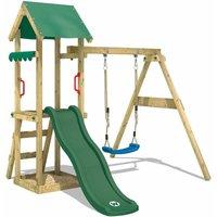 Aire de jeux Portique bois TinyWave avec balançoire et toboggan vert Maison enfant exterieur avec bac à sable, échelle d'escalade & accessoires de