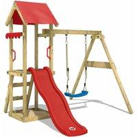 WICKEY Aire de jeux Portique bois TinyWave avec balançoire et toboggan rouge Maison enfant exterieur avec bac à sable, échelle d'escalade &